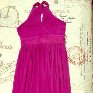 Crisscross High-Neck Mesh Bridesmaid Dress